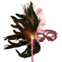 Pink Sequin Masquerade Feather Mask