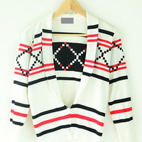 Long Sleeve Striped Knitted Cropped Cardigan