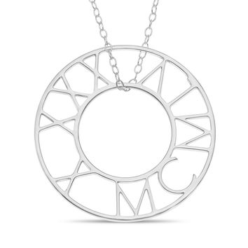 ROMAN BIRTHDAY CIRCLE FLOATING PENDENT - STERLING SILVER