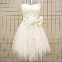 Sweatheart Ball Gown A-line mini party dress Cocktail prom Dresses With Beading Bowknot one size = 5738847617