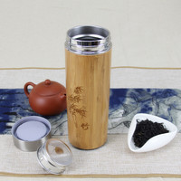 Bamboo Stainless Steel Thermos bottles for water flasks travel mug coffee insulated cups tea thermal pot Engraving water bottles