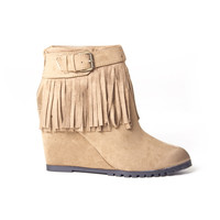 Fringe So Long Wedge Ankle Booties In Camel