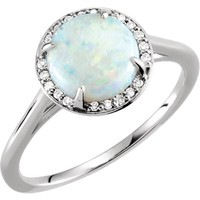 14k Gold Round Genuine Australian Opal & .05 CTW Diamond Halo Ring