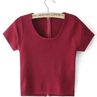 Wine Red Scoop Neckline Zip Up Crop Top