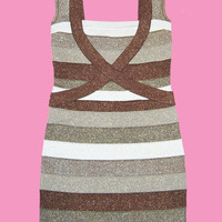 Goldilocks Shimmer Bandage Bodycon Dress