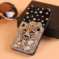 Luxury Crystal Bling Gold Diamonds Leopard Rhinestone Case Cover For iphone 6 6 plus 5 5s 5c 4 4s