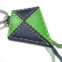 Lovely Kite Leather Keychain ( Green / Black )