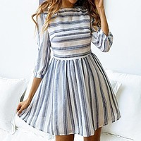 Stripe Long Sleeve Stripe Dress Women Elegant Short Dress Mini Beach Dress