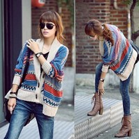 Bohemian Casual Tribal Oversized Knit Bat Sleeve Sweater Coat Knitwear Cardigan