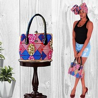 Red African Print Tote Bag