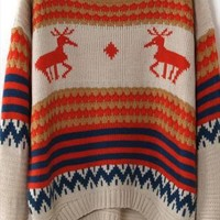 Deer Geometric Print Pullovers Loose Sweater from alanchen