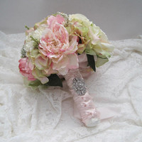 Stunning Mixed Floral Bridal Bouquet with Hydrangea Roses Peonies French Knotted Down Front with Gorgeous Rhinestone Accent