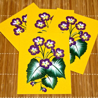 Hand Painted Cards With Violets