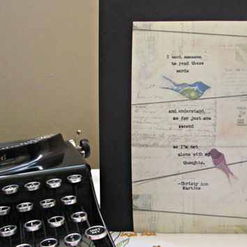 Typewriter quotes poems writer quote poetry word art decor mixed media typed on carstock vintage wall art decor