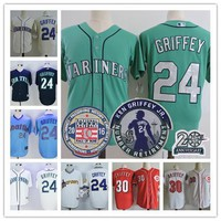 Mens Seattle Mariners 24 Ken Griffey Jr green cream Cincinnati Reds 30 white Red throwback stitched 2016 hall of fame Retirement jerseys