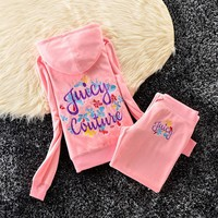 Juicy Couture Studded Colorful Flowers Velour Tracksuit 6023 2pcs Women Suits Pink