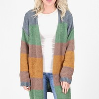 Color Block Striped Knit Open Cardigan {Olive/Honey}
