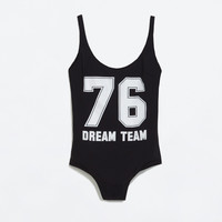 NUMBER PRINT SWIMSUIT