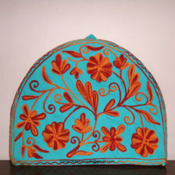 Christmas Tea Cozy/Crewel Embroidered Quilted Blue Tea Cosy/Tea cosy/Tea cosies/teapot cover/Thanksgiving gift/Housewarming gift/Floral cozy