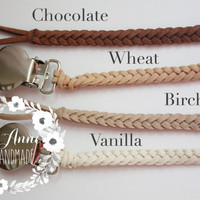 Leather Pacifier Clip Leather Binky Clip Soother Clip Leather Braided Pacifier Clip