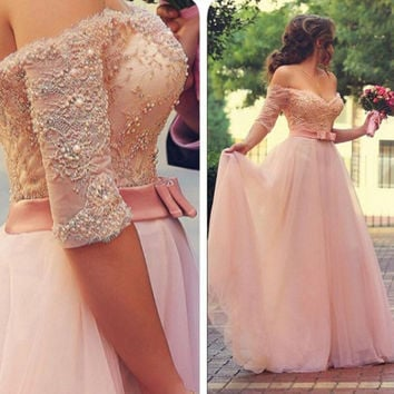 Off Shoulder Lace and Tulle Prom Dresses Pearls and Beads Embellishments pst0126
