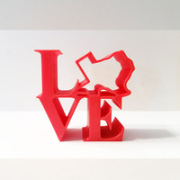 Love Statue, Philadelphia Love Icon, Love Art, Love Ornament, 3D Printed Love Figurine, Red Love Ornament, Love Figurine, Love Decor, Texas