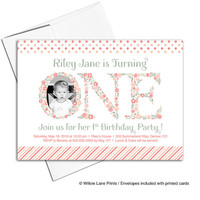 Flower 1st birthday invitation for girls in coral and green | little girls invites | printable or printed - WLP00322