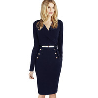 Vfemage Womens Fall Elegant Long Sleeve Faux Wrap Ruched Belted Button Wear to Work Business Casual Party Sheath Dress 1362
