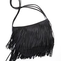 Oversized Faux Leather Fringe Tote