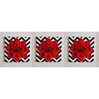 "Three Red Wall Flowers -Red Dahlias on Black and White Chevron 12 x12"" Canvases Wall Art- Baby Nursery Wall Decor-"