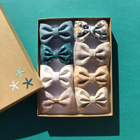 Teal, gold and cream Seaside Sparrow hair bow set of eight.  Mini hair bow set Hair bow gift hair clip girl gift for her hair accessory girl