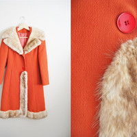 The Rusty Jacket. Vintage 1960s Burnt Orange Wool Women Mink Fur Trimed Collar Coat XS