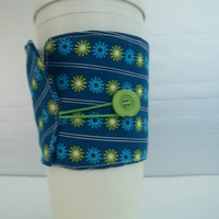 Blue flowered Cup Cozy sleeve made with vintage button and blue cotton fabric