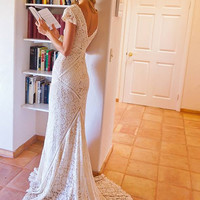 Bohemian Wedding Dress | STRETCH LACE GOWN with Train | Panelled Patchwork Construction | Ivory or White Bohemian Dress | Short Sleeves