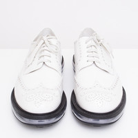 White Leather Wingtip Oxfords with Clear Soles