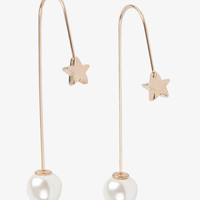 Star and Pearl Pull Though Earrings