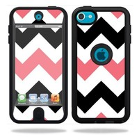 Mightyskins Protective Vinyl Skin Decal Cover for OtterBox Defender Apple iPod Touch 5G 5th Generation Case Black Pink Chevron