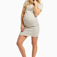 Ivory-Grey-Striped-Fitted-Short-Sleeve-Maternity-Dress