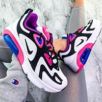 Nike Air Max 200 Sports Air Sneakers Contrast Polyline Print Shoes White+Pink Sole