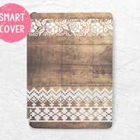 White Floral Lace brown wood print Smart Cover for iPad Air, iPad Air 2, Smart cover with back case -G8