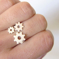 Gears in hand  sterling  Adjustable Ring by SmilingSilverSmith