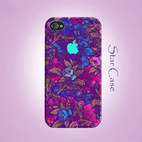 iPhone 4/ 4s and 5 Case - Garden Flowers N.2 iPhone Hard Case- iPhone 4 5 Cover Floral Hard Case - Purple Mint Girly Pretty