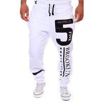 Men's Five Star Printing Pants Man Sports Joggers Trousers Black/Gray/White [8323379265]