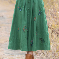 Green Vintage Floral Pattern Buttoned A-Line Skirt