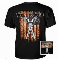 Country Life Outfitters USA  American Flag Guns Vintage Unisex Black Bright T Shirt