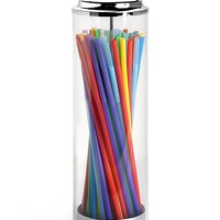 SimplyImagine Acrylic Straw Dispenser - 13 Inch Tall Drinking Straw Holder for Kitchen, Pop Up Straw Lid Dispenser for Extra Long & Jumbo Straws, Old Fashioned Retro Style