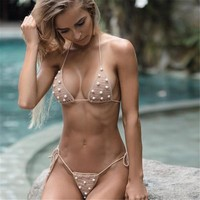 Crochet Bikinis Women 2018 Hot Solid Swimsuits Brazilian Halter Strappy Bathing Suits Retro Knitting Bikini Set Femme Thong