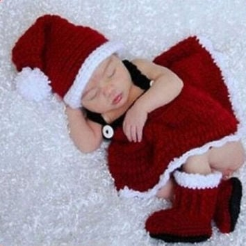 Christmas Infant Baby Girls Newborn Knit Crochet Costume Infant Photo Prop Outfits Dress = 1958357956