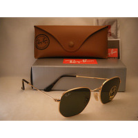 Ray Ban 3548N Gold w Green Crystal (G-15) Lens (RB3548N 001 51mm size)