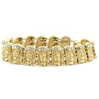 JESUS FACE GOLD PLATED MICRO PAVE CLEAR CUBIC 8.5 BRACELET KB016G